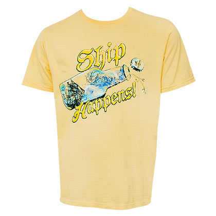 LANDSHARK Beer Ship Happens Design Yellow Tshirt