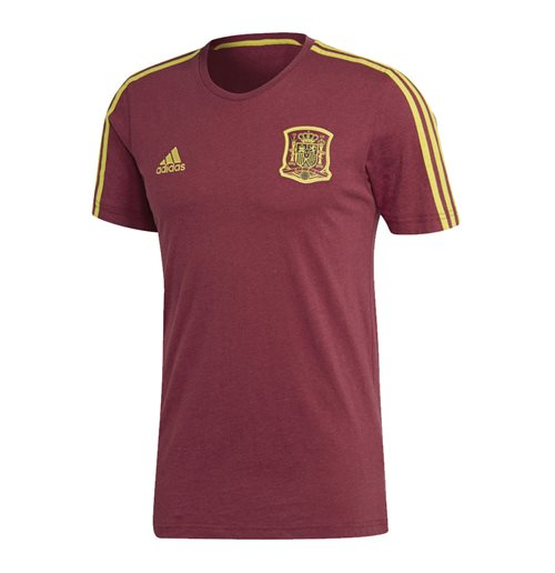 2018-2019 Spain Adidas 3 Stripe Tee (Burgundy)