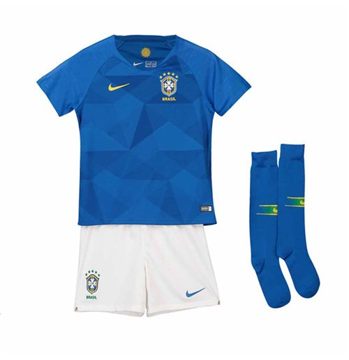 2018-2019 Brazil Away Nike Little Boys Mini Kit