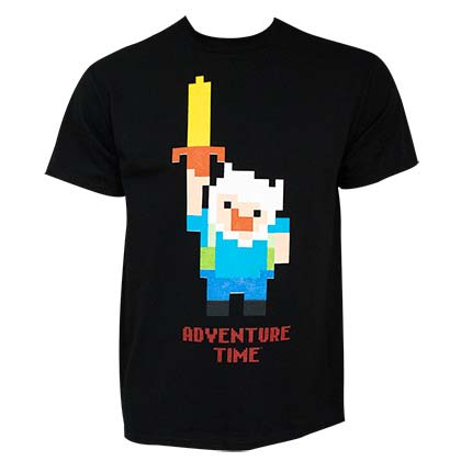 ADVENTURE TIME Legend Pixel 8-Bit Finn Men's Black T-Shirt