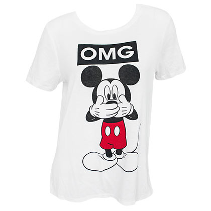 Mickey Mouse DISNEY OMG Women's White T-Shirt