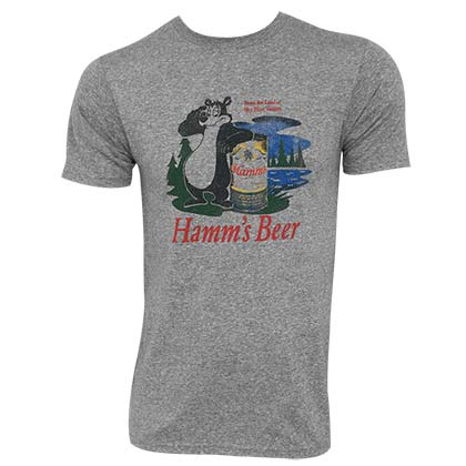 HAMM'S Bear Logo Heather Grey Retro Brand Men's TShirt