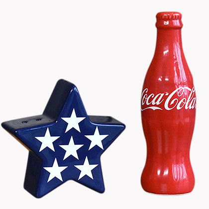 COCA-COLA Patriotic Salt Pepper Shakers Set Bottle Star