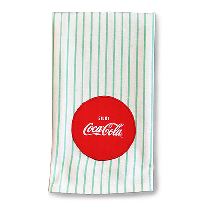 COCA-COLA 1950s Retro Striped Tea Towel
