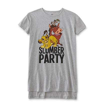 The LION KING Slumber Party Women's Ash Grey Pajamas Night Shirt