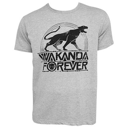 BLACK PANTHER Emblem Wakanda Forever Men's Grey T-Shirt