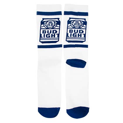 BUD LIGHT Cans White Crew Socks