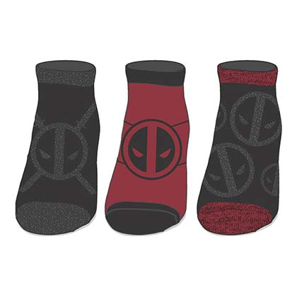 DEADPOOL Metallic Women's Ankle Socks 3 Pairs