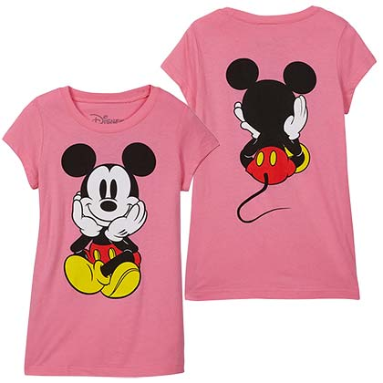 Mickey Mouse Front Back Print Youth Girls Pink T-Shirt