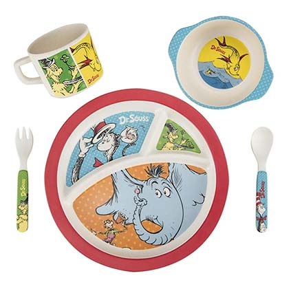 DR. SEUSS 5 Piece Bamboo Mealtime Kids Dish Set