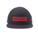 NINTENDO SNES Logo Patch Snapback Baseball Cap, Dark Grey/Red