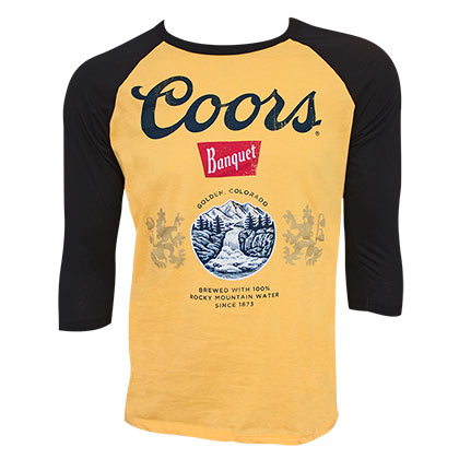 COORS Banquet Beer Black and Gold 3/4 Sleeve Raglan Shirt