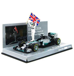 MERCEDES AMG W05 LEWIS HAMILTON WITH FIGURINE AND FLAG WINNER ABU DHABI GP 2014