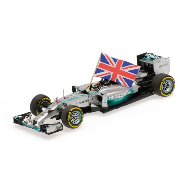 MERCEDES AMG W05 HAMILTON WINNER ABU DHABI GP WITH FLAG WORLD CHAMPION 2014