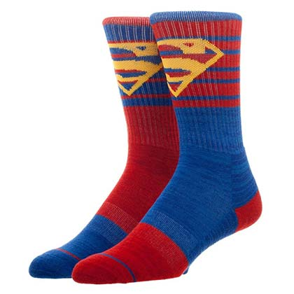 SUPERMAN Logo Flipped Colors Men's Crew Socks