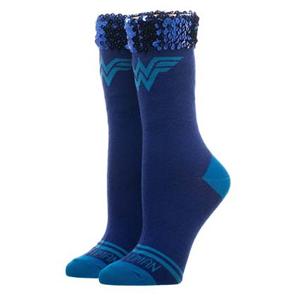 WONDER WOMAN Sequin Juniors Womens Socks