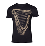 GUINNESS Male Distressed Harp Logo T-Shirt, Medium, Black
