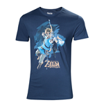 NINTENDO Legendo of Zelda: Breath of the Wild Male Link with Bow Box Art Cover T-Shirt, Medium, Blue