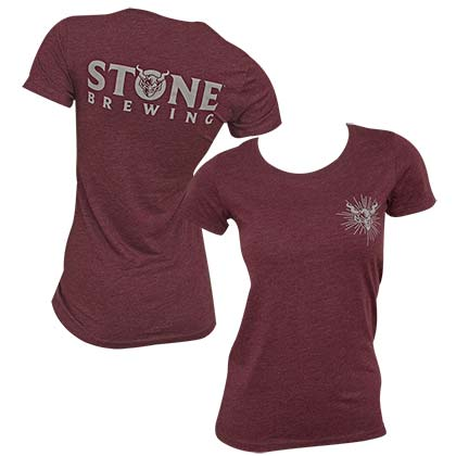 Stone Brewing Logo Women's Dark Red T-Shirt