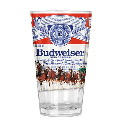 BUDWEISER Clydesdale Horse Label Pint Glass