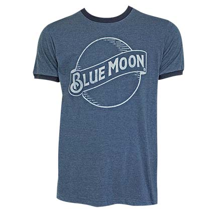 BLUE MOON Logo Men's Blue Ringer TShirt