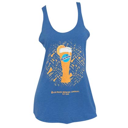 BLUE MOON Beer Women's Racerback Blue Tank Top