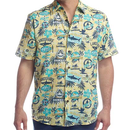 LANDSHARK Button Down Aloha Short Sleeve Hawaiian Yellow Men's Shirt