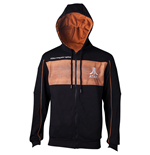 ATARI Men's 2600 Logo Full Length Zipper Hoodie, Extra Large, Black/Orange