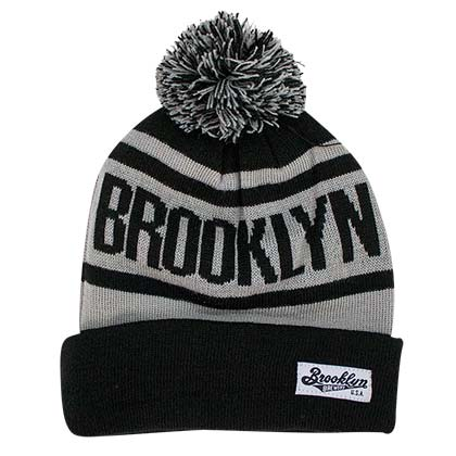 BROOKLYN BREWERY Pom Beanie Gray Winter Hat