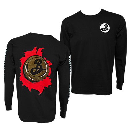 BROOKLYN BREWERY Long Sleeve Skater Men's Black TShirt