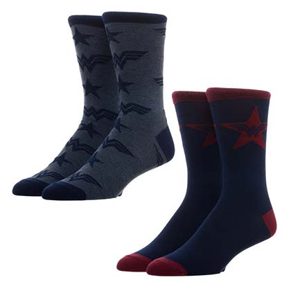 WONDER WOMAN Logos Men's Navy Blue Crew Socks