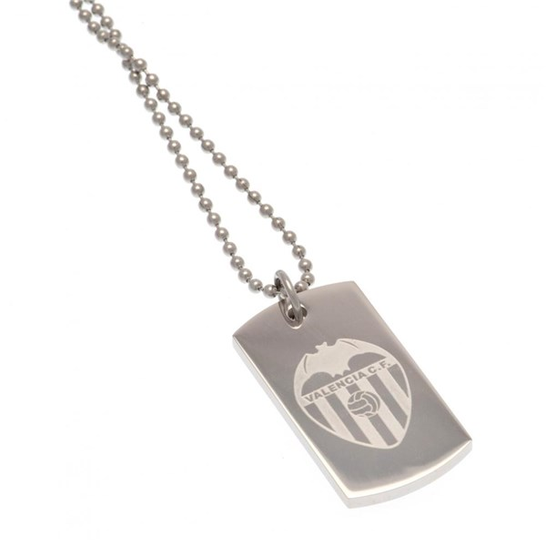 Valencia C.F. Engraved Crest Dog Tag & Chain