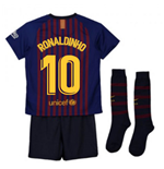 2018-2019 Barcelona Home Nike Little Boys Mini Kit (Ronaldinho 10)