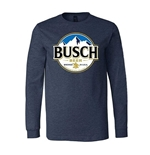 BUSCH Beer Round Logo Men's Long Sleeve Blue TShirt