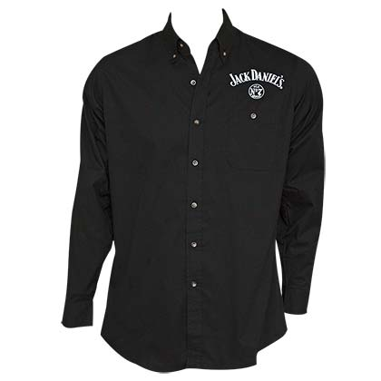 Jack Daniel's Embroidered Long Sleeve Men's Black Button Up Shirt
