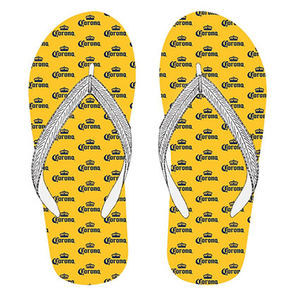 Corona Repeating Logos Yellow Men's Flip Flops Sandals