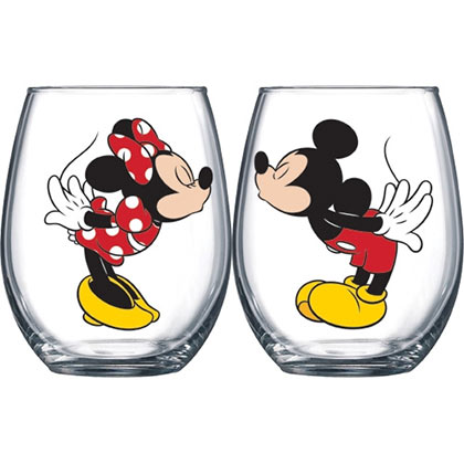 Mickey And Minnie Kissing 14.5 oz Wine Glass Set Of 2