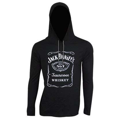 Jack Daniel's Classic Logo Long Sleeve Black Men's Hooded TShirt