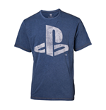 SONY Playstation Men's Logo Faux Denim T-Shirt, Medium, Blue