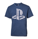 SONY Playstation Logo Faux Denim T-Shirt, Male, Extra Extra Large, Blue
