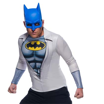 BATMAN Costume Shirt Mask Adult Halloween Set