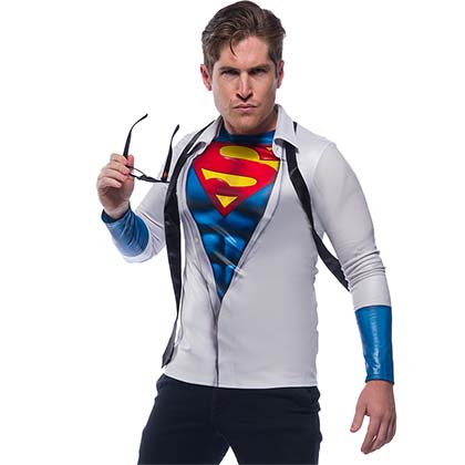 SUPERMAN Adult Shirt And Tie Costume Shirt