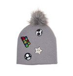 NINTENDO Super Mario Bros. Patches Embroidered Cuffless Beanie, Grey