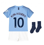 2018-2019 Man City Home Nike Little Boys Mini Kit (Kun Aguero 10)