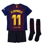 2018-2019 Barcelona Home Nike Little Boys Mini Kit (O Dembele 11)