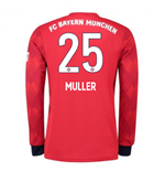 2018-2019 Bayern Munich Adidas Home Long Sleeve Shirt (Muller 25)