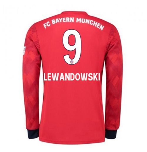 b3e4b6ed5 2018-2019 Bayern Munich Adidas Home Long Sleeve Shirt (Lewandowski 9) - Kids
