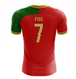 2018-2019 Portugal Flag Home Concept Football Shirt (Figo 7) - Kids