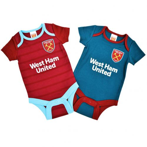 West Ham United F.C. 2 Pack Bodysuit 6/9 mths