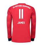2018-2019 Bayern Munich Adidas Home Long Sleeve Shirt (James 11)